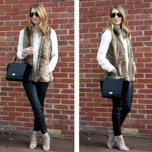 Loft Brown Faux Fur Zip Up Winter Vest Coat